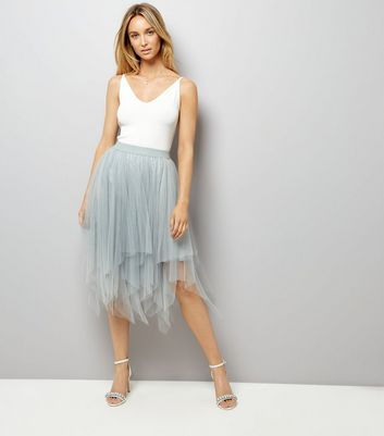 Mint Green Tulle Hanky Hem Midi Skirt