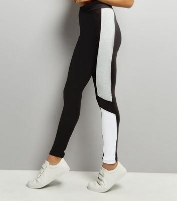 Hellgraue Leggings in Blockfarben