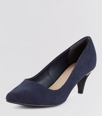 Wide Fit Navy Comfort Metal Trim Kitten Heels
