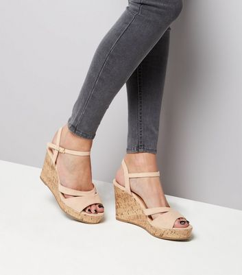Wide Fit Nude Suedette Wedges