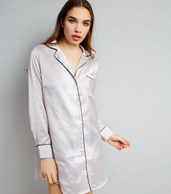 Pink Stripe Sateen Oversized Pyjama Shirt