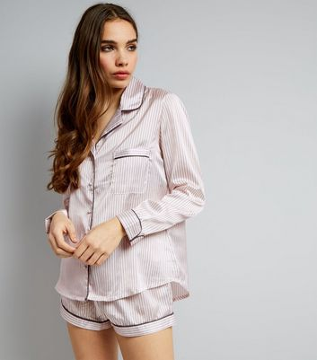 Pink Stripe Sateen Shorts Pyjama Set