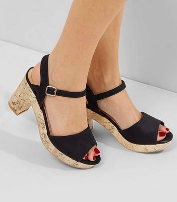Wide Fit Black Suedette Cork Heels