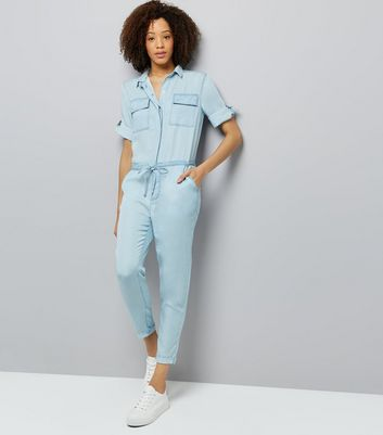 Blue Tie Waist Denim Jumpsuit