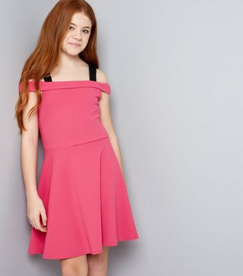 Teens Bright Pink D Ring Cold Shoulder Scuba Skater Dress