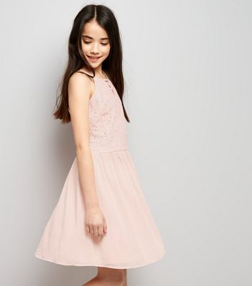 Teens Pink Lace Lattice Front Skater Dress