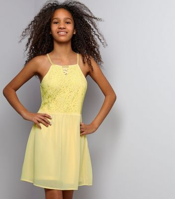 Teens Yellow Lace Lattice Front Skater Dress