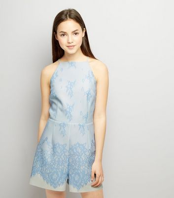Teens Pale Blue Bonded Lace Scuba Playsuit