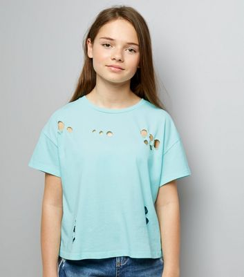 Teens Mint Green Ripped Short Sleeve T-Shirt