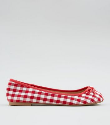 Wide Fit Red Gingham Ballet Pumps