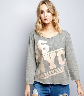 JDY Pale Grey NYC Print Sweater