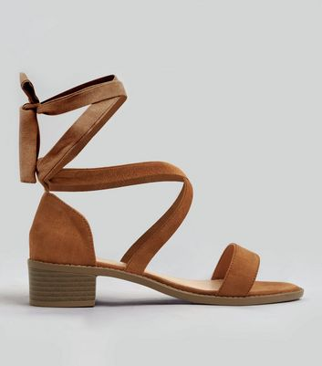 Teens Tan Suedette Tie Up Sandals