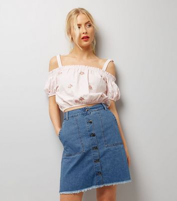 JDY Blue Button Front A-Line Denim Skirt