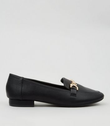Teens Black Metal Bar Front Loafers
