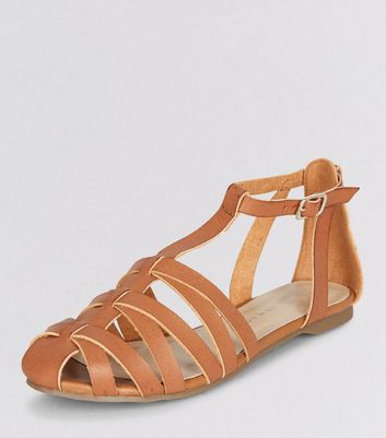 Teens Tan Caged T-Bar Sandals
