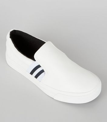 Teens White Contrast Elasticated Stripe Strap Plimsolls