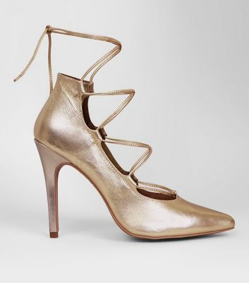 Gold Leather Ghillie Pointed Heels
