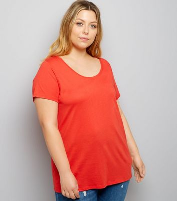 Curves Red Scoop Neck T-Shirt