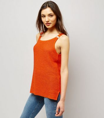 Orange Ring Trim Step Hem Vest