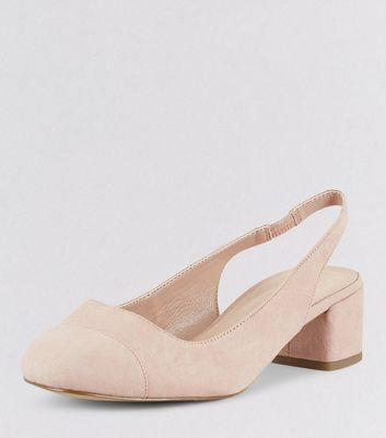 Wide Fit Nude Pink Comfort Suedette Sling Black Mini Heels