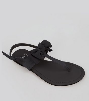 Teens Black Suedette Bow Front Sandals