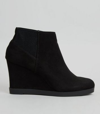 Teens Black Suedette Ribbed Panel Wedge Heel Ankle Boots
