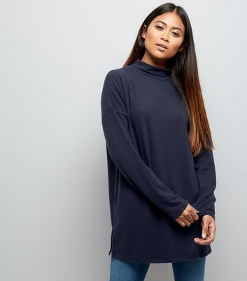 Petite Navy Brushed Funnel Neck Tunic