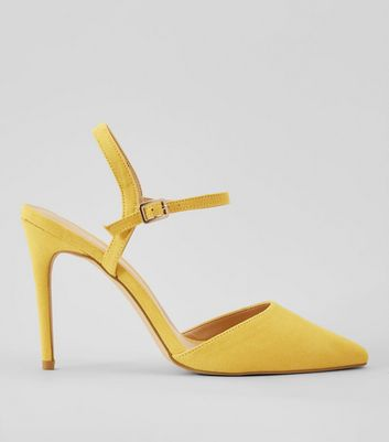 Yellow Ankle Strap Pointed Court Shoes