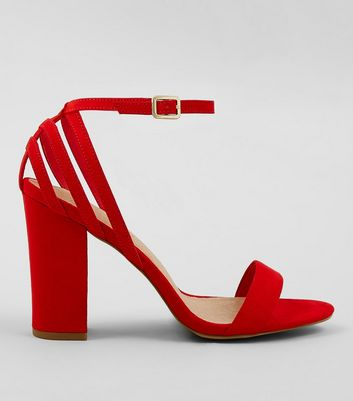 Red Comfort Suedette Triple Strap Back Block Heels