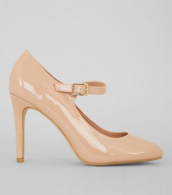 Nude Comfort Patent Strap Front Court Shoes