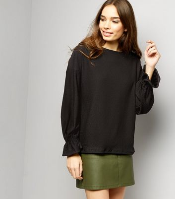 Black Jacquard Textures Flared Cuff Long Sleeve Top