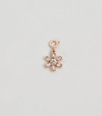 Gold Floral Crystal Flower Charm