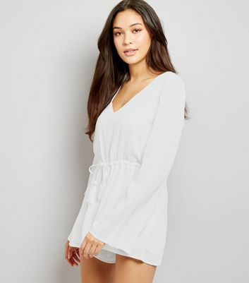 Blue Vanilla White Tassel Drawstring Lace Trim Playsuit