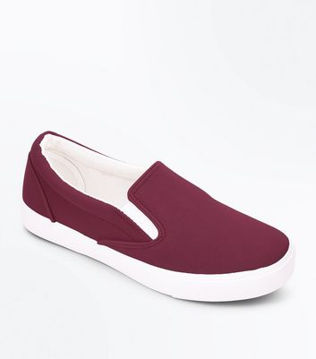 Burgundy Contrast Trim Slip On Trainers
