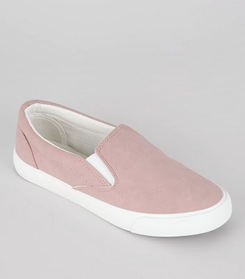 Pink Contrast Trim Slip On Trainers