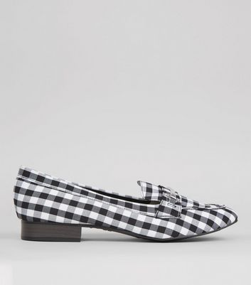 Black Gingham Loafers