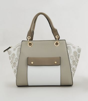 White Floral Detail Pocket Front Bowler Bag
