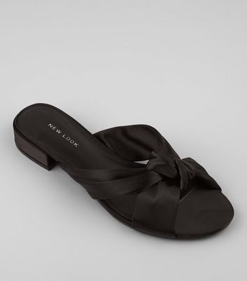 Black Satin Knot Front Mules