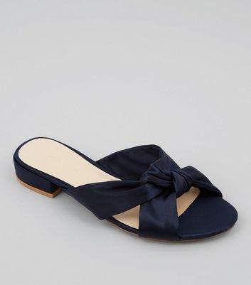 Navy Satin Knot Front Mules