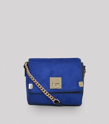 Blue Suedette Cross Body Box Bag