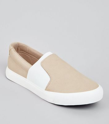 Teens Cream Contrast Elasticated Strap Plimsolls