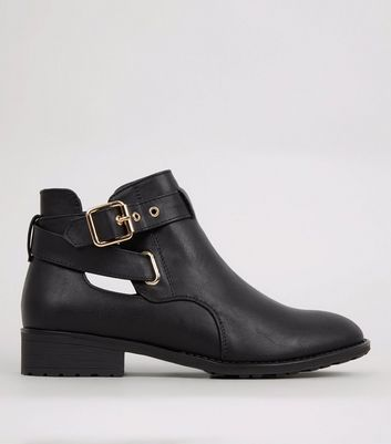 Teens Black Cut Out Side Ankle Boots