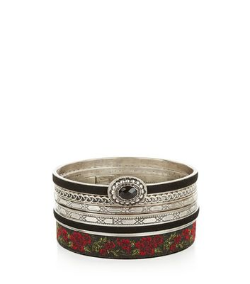 6 Pack Silver Floral Bangle Pack