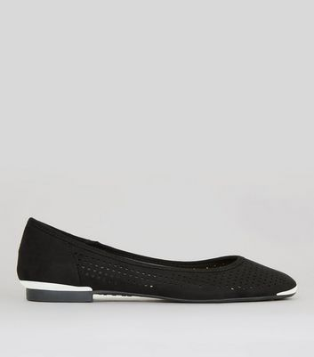 Black Perforated Metal Trim Pumps
