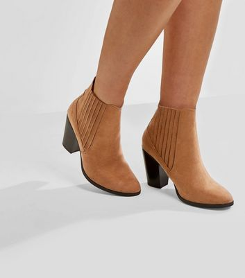 Wide Fit Tan Suedette Elasticated Side Boots