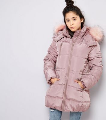 Teens Pink High Shine Faux Fur Trim Hooded Puffer Jacket