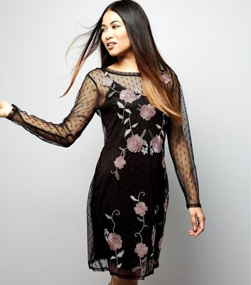 Petite Spot Mesh Embroidered Long Sleeve Dress