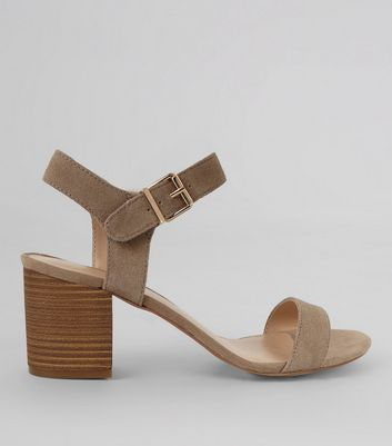 Light Brown Suede Ankle Strap Heels
