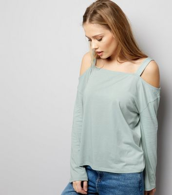 Mint Green Cold Shoulder Top