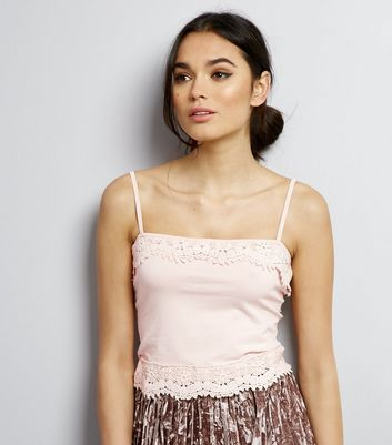 Pink Lace Trim Cropped Cami Top